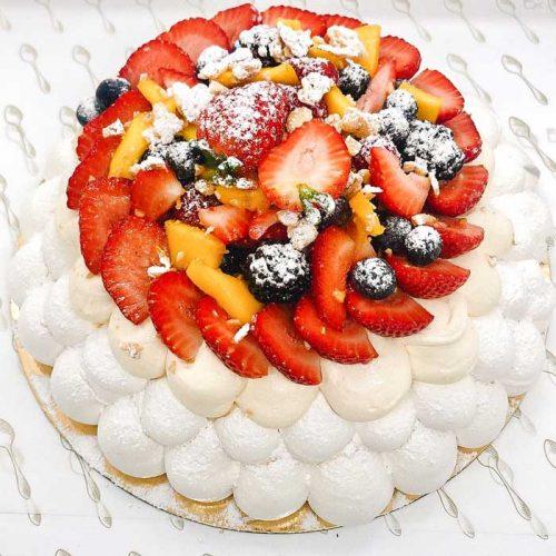 tarta pavlova de fresa y mango